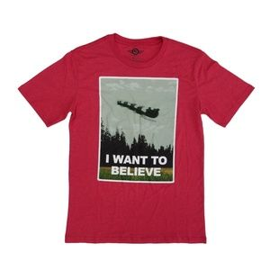 NWT Mad Engine Men's Heather Red I Want to Believe